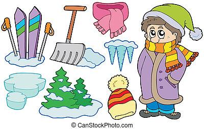kollektion, av, vinter, avbildar