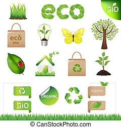 kollektion, eco, formge grundämnen, och, ikonen