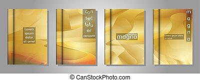 kollektion, färg, täcka, design, bok, våg, eps, 10., guld, lutning, vektor, illustration, backgrounds.