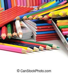 kollektion, färgade blyertspenna