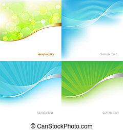 kollektion, gröna och blåa, tonen, bakgrund
