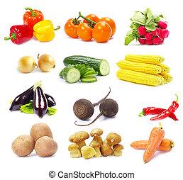 kollektion, grönsaken