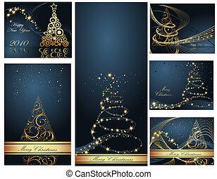 kollektion, munter, år, färsk, jul, lycklig