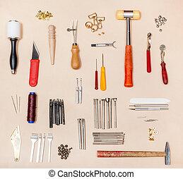 kollektion, olika, läder, crafting, redskapen