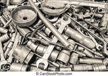 kollektion, skruvnyckel, och, skiftnyckel, reparera,...