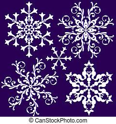 kollektion, snöflinga, (vector), årgång