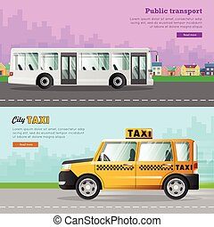 kollektion, transport., bil, två, ikonen