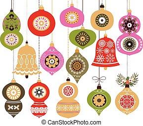 kollektion, vektor, grön, agremanger, jul, röd