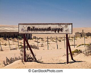 kolmannskuppe, señales, en, pueblo fantasma