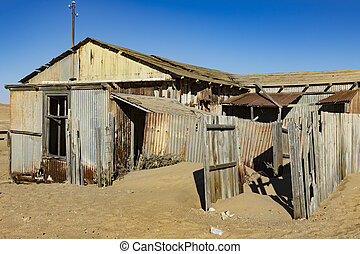 kolmanskoppe, edificios, putrefacción, abandonado, izquierda