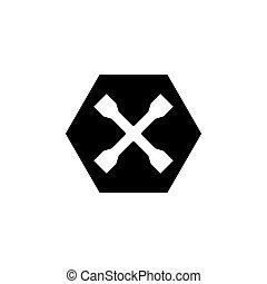 kolo, překroutit, kříž, byt, vektor, ikona