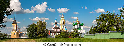 Kolomenskaya Cathedral Square on a sunny day with clouds in the sky. Panorama