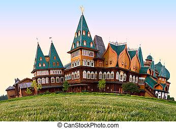 kolomenskoye, drewniany, miejsce zamieszkania, moskwa, tsars, ruski, rosja