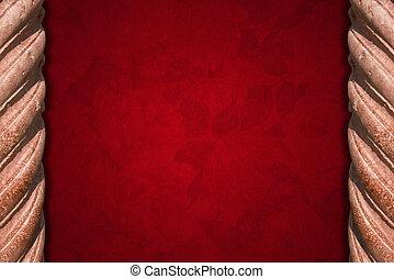kolommen, fluweel, rode achtergrond