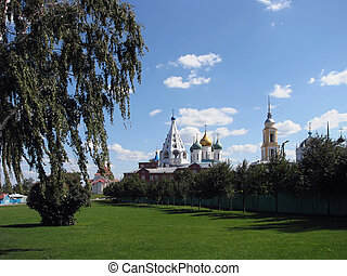 Kolomna Cathedral square on a Sunny autumn day with clouds in the sky