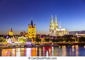 kolonia katedra, rzeka, rhine