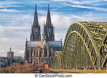 kolonia, kolonia, niemcy, katedra, hohenzollern bridge