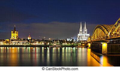 kolonia, most, hohenzollern, katedra, noc
