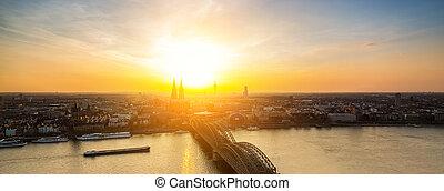 kolonia, panoramiczny, zachód słońca, prospekt