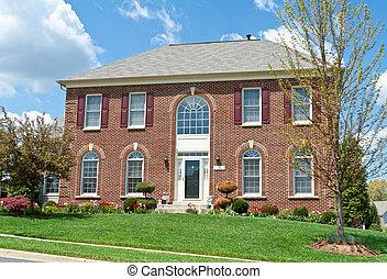 kolonial, mursten, enlig familie hus, hjem, md., united states