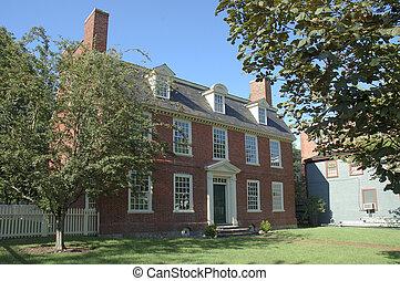 kolonial, tegelsten, historisk, hus