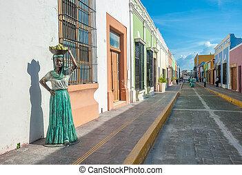 kolonialny, ulice, miasto, campeche, meksyk