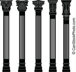 kolonn, antikvitet, pelare, forntida, gammal