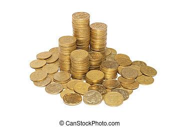 kolonn, av, gyllene, mynter
