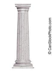 kolonn, grek, singel, vit, isolerat