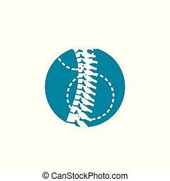 kolonn, ryggrads, ortopedisk, w, cirkel, ikon