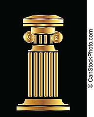 kolonn, vektor, design, guld