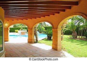 kolonnad, archs, hus, badbassäng, trädgård