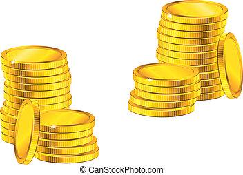 kolonner, av, gyllene, mynter