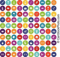 kolor, 100, jazda konna, komplet, ikony