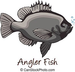 kolor, anglerfish, ilustracja