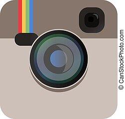 kolor, aparat fotograficzny, wektor, beżowy, ikona