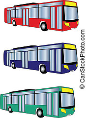 kolor, autobus, różny, wektor, -