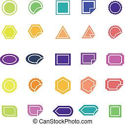 kolor, biały, etykieta, tło, ikony