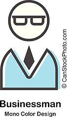 kolor, biznesmen, ilustracja, mono