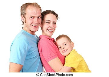 kolor, chłopiec, profil, rodzina