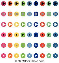kolor, differnt, strzały, okrągły
