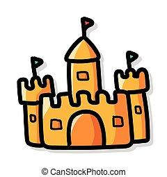 kolor, doodle, zamek