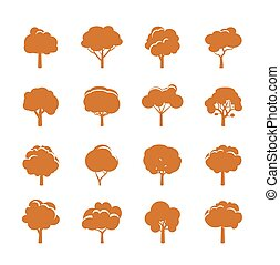 kolor, drzewa., wektor, zbiór, icons.