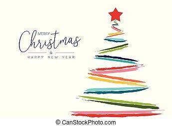 kolor, drzewo, nowy, ręka, rok, pociągnięty, kartka na boże narodzenie