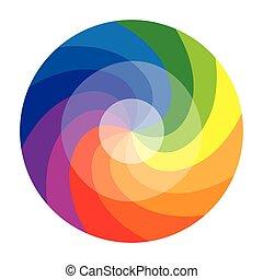 kolor, dwanaście, albo, koło, kolor, koło