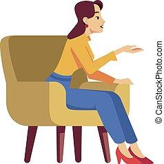 kolor, fotel, pół, wektor, kobieta, ilustracja, płaski, rgb