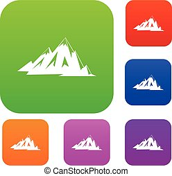 kolor, góry, komplet, zbiór, kanadyjczyk