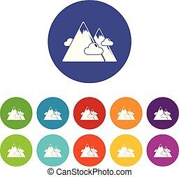 kolor, góry, wektor, komplet, ikony