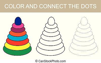 kolor, i, zjednajcie wielokropek, wizerunek, od, children's, pyramid., wektor