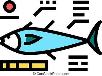 kolor, ikona, wektor, ilustracja, fish, tuńczyk, cechy charakterystyczny